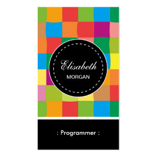 Programmer- Colorful Sqaure Pattern Pack Of Standard Business Cards