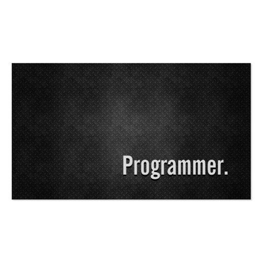 Programmer Cool Black Metal Simplicity Business Card