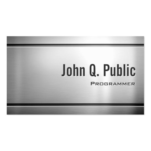 Programmer - Cool Stainless Steel Metal Business Card