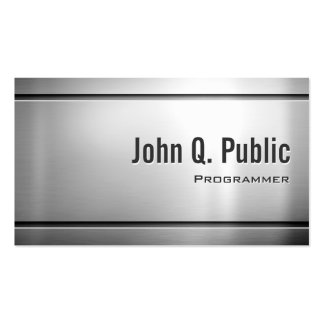 Programmer - Cool Stainless Steel Metal Pack Of Standard Business Cards