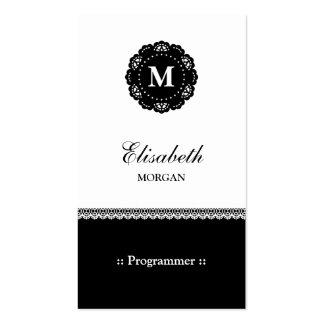 Programmer - Elegant Black Lace Monogram Pack Of Standard Business Cards