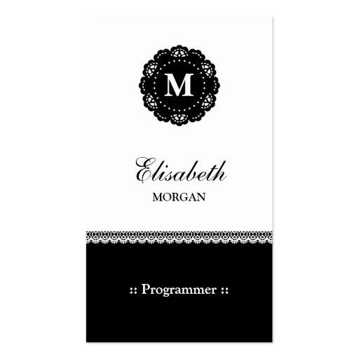 Programmer - Elegant Black Lace Monogram Business Card Templates