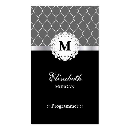 Programmer - Elegant Black Lace Pattern Business Cards