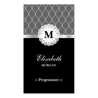 Programmer - Elegant Black Lace Pattern Pack Of Standard Business Cards