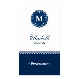 Programmer - Elegant Blue Lace Monogram Pack Of Standard Business Cards