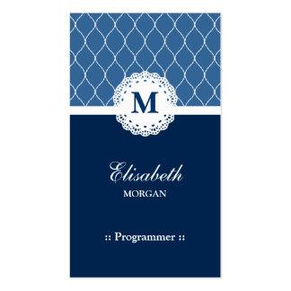 Programmer - Elegant Blue Lace Pattern Pack Of Standard Business Cards