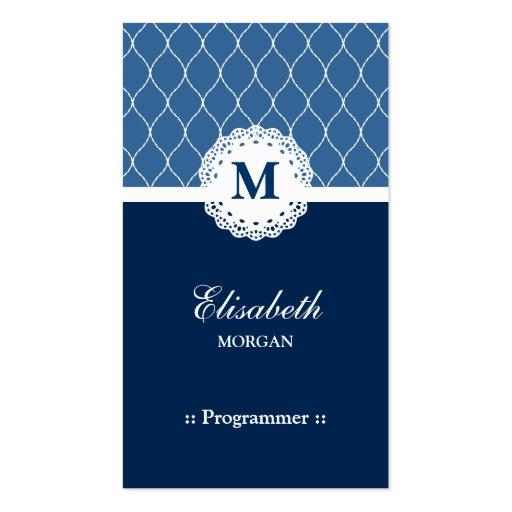 Programmer - Elegant Blue Lace Pattern Business Cards