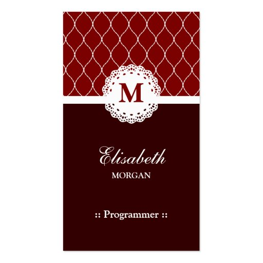 Programmer - Elegant Brown Lace Pattern Business Card Templates