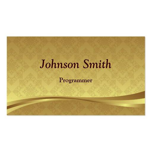 Programmer - Elegant Gold Damask Business Card Templates