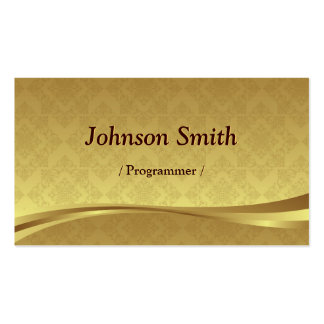 Programmer - Elegant Gold Damask Business Cards
