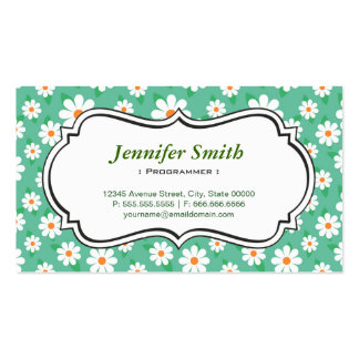 Programmer - Elegant Green Daisy Double-Sided Standard Business Cards (Pack Of 100)