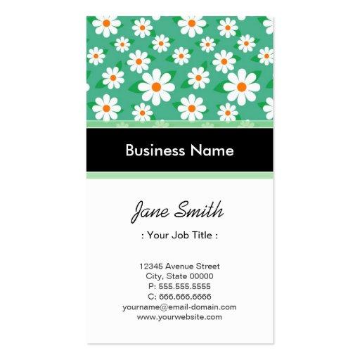 Programmer Elegant Green Daisy Floral Pattern Business Card Template