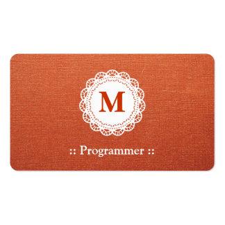 Programmer - Elegant Lace Monogram Pack Of Standard Business Cards
