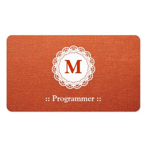 Programmer - Elegant Lace Monogram Business Card