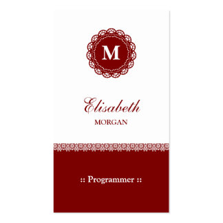 Programmer - Elegant Red Lace Monogram Pack Of Standard Business Cards