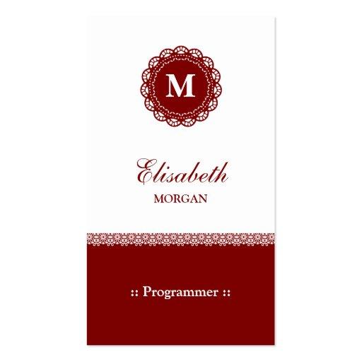 Programmer - Elegant Red Lace Monogram Business Cards