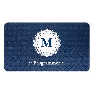 Programmer - Lace Monogram Blue Pattern Pack Of Standard Business Cards