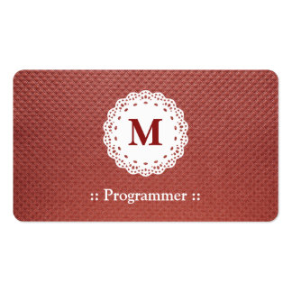 Programmer Lace Monogram Brown Pattern Pack Of Standard Business Cards