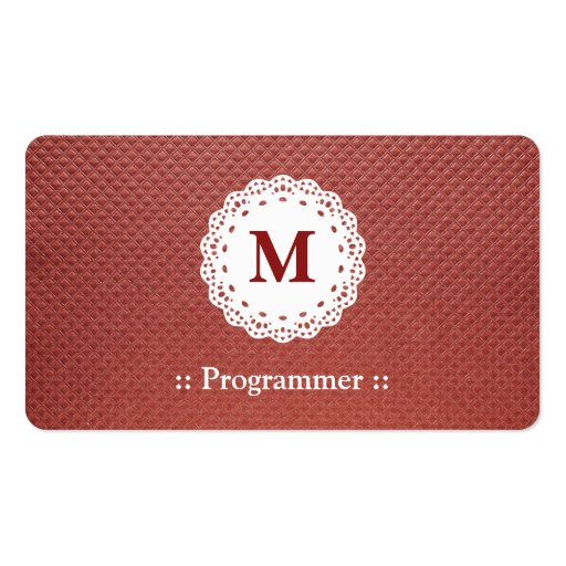 Programmer Lace Monogram Brown Pattern Business Card Templates