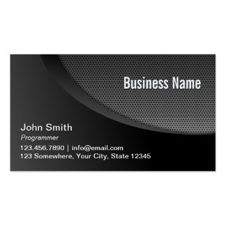 Programmer Modern Black Metal Mesh Pack Of Standard Business Cards