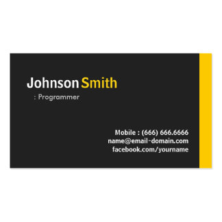 Programmer - Modern Minimalist Amber Business Card Templates