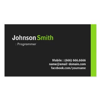 Programmer - Modern Minimalist Green Pack Of Standard Business Cards