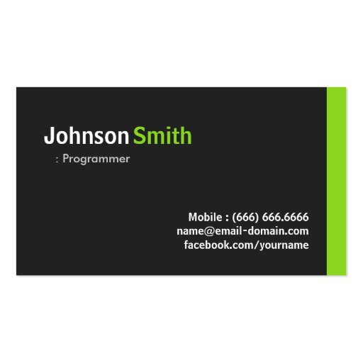 Programmer - Modern Minimalist Green Business Card Template