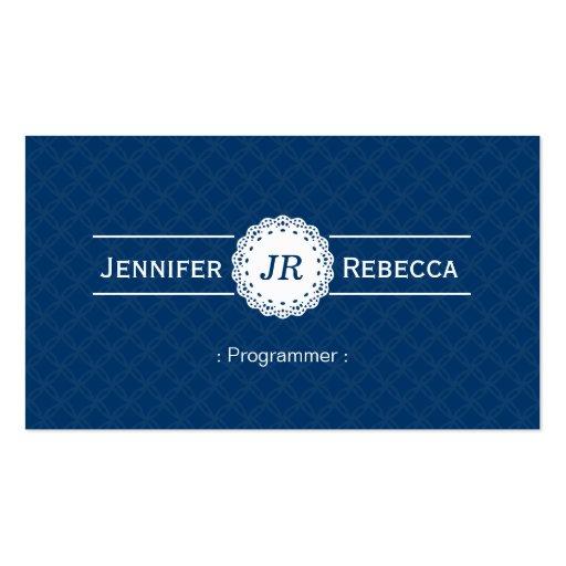 Programmer - Modern Monogram Blue Business Card