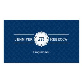 Programmer - Modern Monogram Blue Pack Of Standard Business Cards