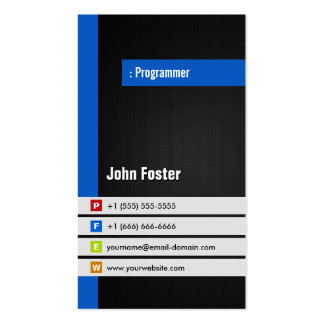 Programmer - Modern Stylish Blue Pack Of Standard Business Cards