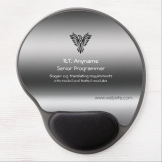 Programmer, Phoenix, black on brushed steel effect Gel Mouse Pad