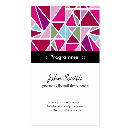 Programmer Pink Abstract Geometry Business Cards