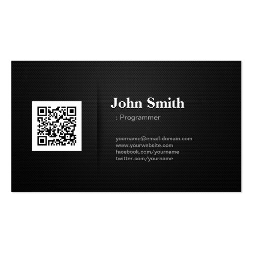 Programmer - Premium Black QR Code Business Cards