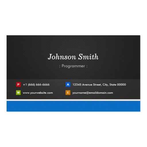 Programmer - Professional Customizable Business Cards