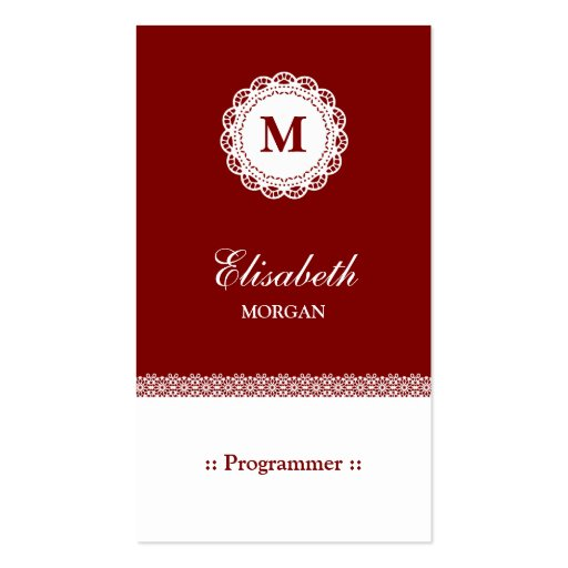 Programmer - Red White Lace Monogram Business Card