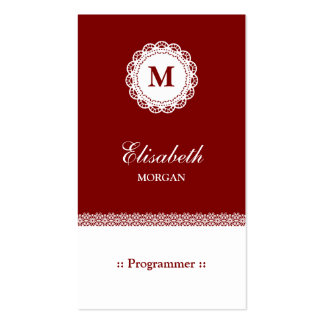Programmer - Red White Lace Monogram Pack Of Standard Business Cards