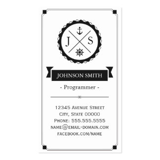Programmer - Retro Nautical Monogram Pack Of Standard Business Cards