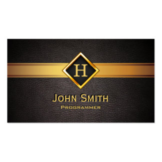 Programmer Royal Monogram Gold Initial Pack Of Standard Business Cards
