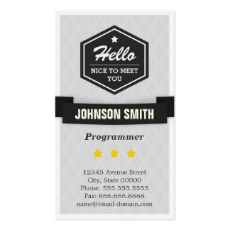 Programmer - Say Hello in Retro Style Pack Of Standard Business Cards
