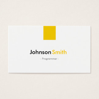 Programmer - Simple Amber Yellow Business Card