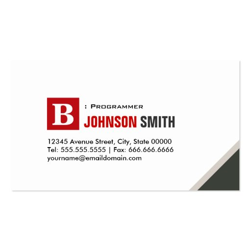 Programmer - Simple Chic Red Business Card Templates