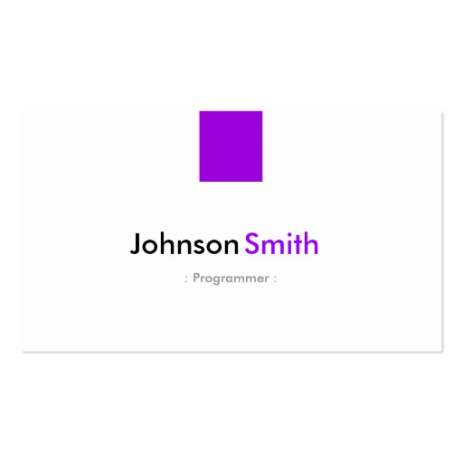 Programmer - Simple Purple Violet Business Cards