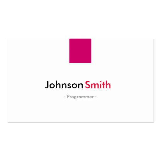 Programmer - Simple Rose Pink Business Card Template