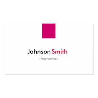 Programmer - Simple Rose Pink Pack Of Standard Business Cards