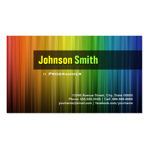 Programmer - Stylish Rainbow Colors Business Cards