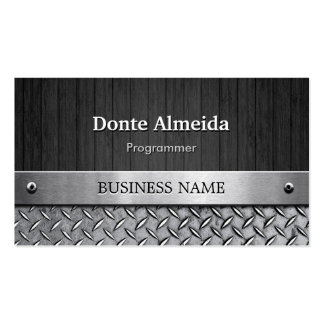 Programmer - Wood and Metal Look Pack Of Standard Business Cards