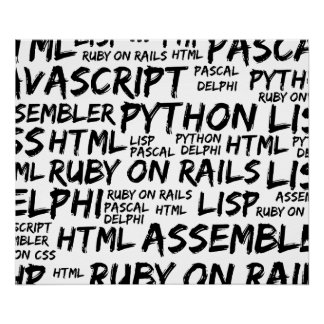 Programming Languages (Java, Pascal) - Black Poster