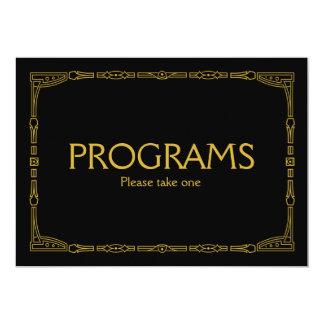"""Programs"" Gold Art Deco Style Wedding Sign 13 Cm X 18 Cm Invitation Card"
