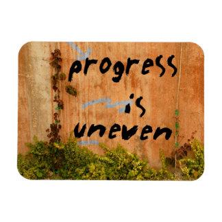 Progress is Uneven, Graffiti Slogan on Wall Rectangular Photo Magnet