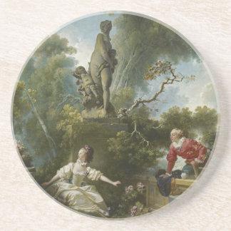 Progress of Love: The Rendezvous by Fragonard Sandstone Coaster